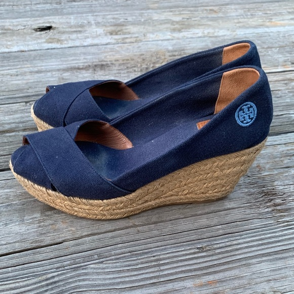 89f9eec6d Tory Burch Filipa Blue Espadrille Canvas Wedge. M_5d00569d1153baa04756ec00